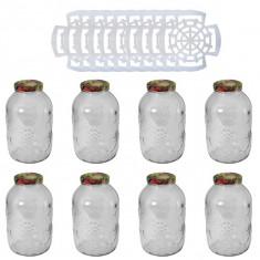 8 x Borcan 5 litri din sticla cu capac, 10 x Presa pentru muraturi 1.75L - 5L