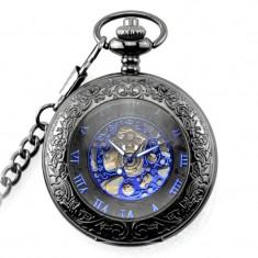 Ceas de buzunar negru cu albastru skeleton cu lant Mecanic Vintage