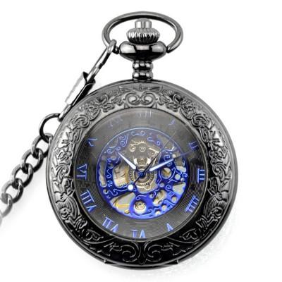 Ceas de buzunar negru cu albastru skeleton cu lant Mecanic Vintage foto