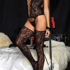 BS174-1 Bodystocking sexy din dantela cu model floral si bretele subtiri, Marime universala