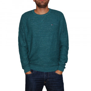 Pulover Tommy Denim Basic green, Custom Fit, culoare Verde, marime L