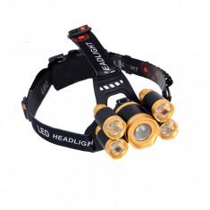 Lanterna De Cap MRG 5 x Led ZOOM Frontala + 2x Acumulatori 18650 C284