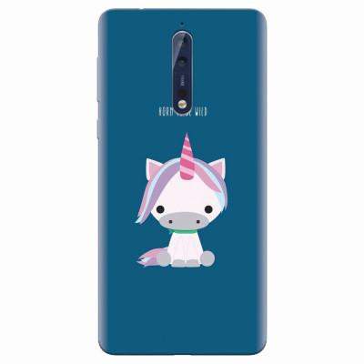 Husa silicon pentru Nokia 8, Horn To Be Wild Cute Unicorn foto
