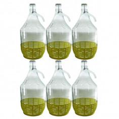 6 x Damigeana 5L din sticla, in cos din plastic, cu inchidere ermetica