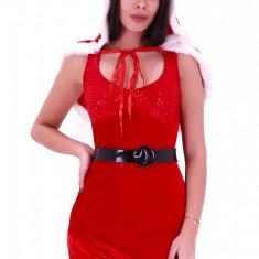 XM365-232 Costum tematic Craciunita sexy, cu blanita si imitatie paiete, S/M