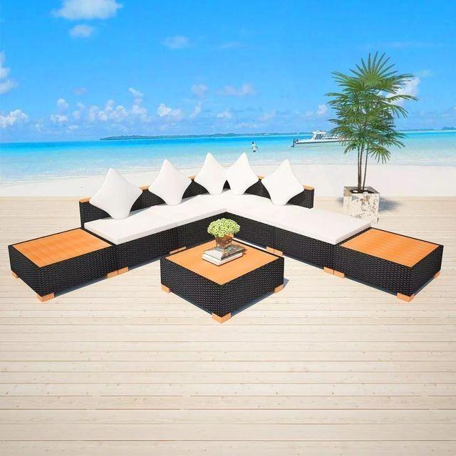 Set mobilier de grădină 18 piese, poliratan, blat WPC, negru