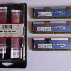 KIT RAM DDR3 KINGSTON Hyper-X Blue 6GB-1600 CL9 1.65V 3 x 2GB KHX1600C9D3K3/6GX, DDR 3, 2 GB, Triple channel