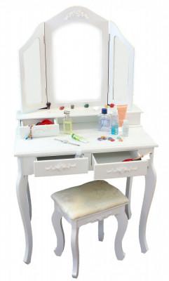 Set Masa Toaleta pentru Machiaj cu 3 Oglinzi Pliabile, 4 Sertare si Scaun, Culoare Alb foto