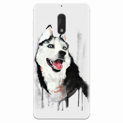 Husa silicon pentru Nokia 6, Husky Dog Watercolor Illustration foto