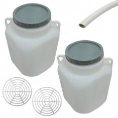 Pachet - 2 x Butoi 20L patrat din plastic alimentar