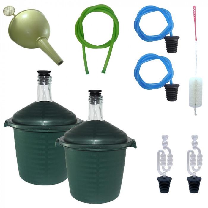 2 x Damigeana 10L din sticla, in cos din plastic verde + Accesorii