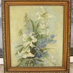 Tablou 1938 Buchet cu Crini si Albastrele ulei pe panza inramat 50x56cm, Natura statica, Realism