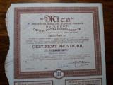 "ACTIUNI MINIERE ""MICA"" - SOCIETATE ANONIMA - 500 LEI - 1945 - CERTIF. PROVIZ."