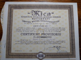 "ACTIUNI MINIERE ""MICA"" - SOCIETATE ANONIMA - 50000 LEI - 1946 - CERTIF . PROVIZ."