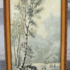 Tablou vechi Peisaj cu vaci la adapat pictura in ulei inramat 34x72cm, Scene gen, Realism