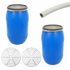 2 x Butoi 85L din plastic alimentar cu cerc metalic + Accesorii