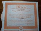 "ACTIUNI MINIERE ""MICA"" - SOCIETATE ANONIMA - 25000 LEI - 1946 - CERTIF. PROVIZ."