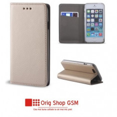 Husa Flip Carte Smart Huawei Mate 20 Lite Gold