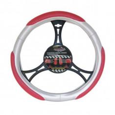 Husa Volan Auto Automax, argintiu/rosu, 37-39cm 6910