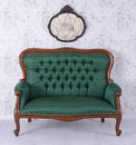 Sofa Empire din lemn mahon cu tapiterie matase verde MAR108, Paturi si seturi dormitor