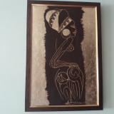 "PICTURA, TABLOU MODERNIST ""FATA AFRICANA"",  NOUA ,  PICTOR CONSACRAT, INRAMATA, Nud, Acrilic, Art Deco"