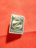 Insigna PECO Romania , metal si email , h= 2 cm