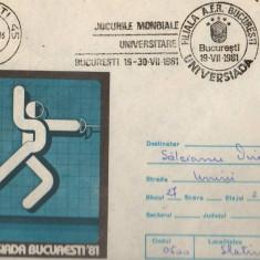 IP 10072 INTREG POSTAL - UNIVERSIADA '81, SCRIMA