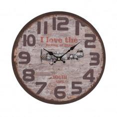 Ceas de perete retro din lemn Airplane 34 cm