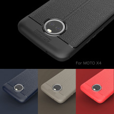 Husa / Bumper Antisoc model PIELE pentru Motorola Moto X4
