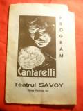 Program Teatrul Savoi- Iluzionistul Cantarelli ,interbelic ,colt sigilat- rupt
