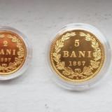 Set BNR Replica 1 Ban, 2 Bani, 5 Bani, 10 Bani din aur. Tiraj 250 buc.