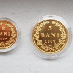 Set BNR Replica 1 Ban, 2 Bani, 5 Bani, 10 Bani din aur. Tiraj 250 buc. - Moneda Romania