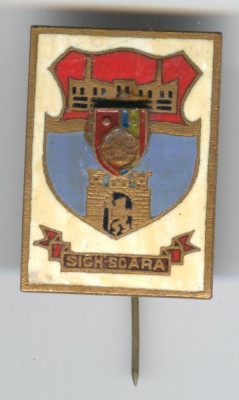 Insigna  HERALDICA - Republica Socialista Romania - stema SIGHISOARA foto