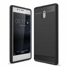 Husa Nokia 3 TPU Carbon Fibre Brushed- Bonus Folie Protectie Ecran - Husa Telefon, Negru, Silicon, Carcasa