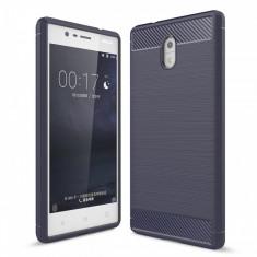 Husa Nokia 3 TPU Carbon Fibre Brushed- Bonus Folie Protectie Ecran - Husa Telefon, Albastru, Silicon, Carcasa