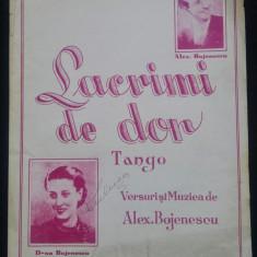 Lacrimi de dor/ tango de Alex. Bojenescu// partitura