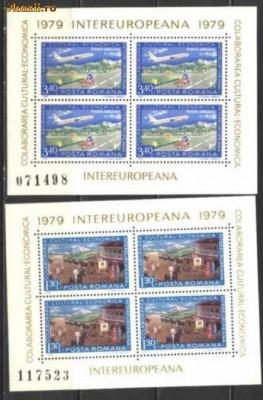 Romania 1979 - COLABORAREA, AVION IN ZBOR, 2 blocuri de 4, MNH, T19 foto