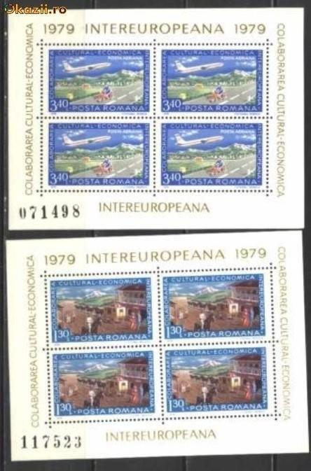 Romania 1979 - COLABORAREA, AVION IN ZBOR, 2 blocuri de 4, MNH, T19