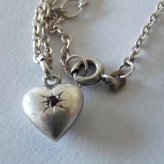 "Lantisor cu pandant argint si zirconiu rosu ""My sweet little heart"" -1737"