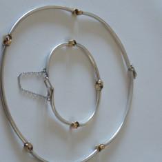 Set colier si bratara argint cu aur -2038 - Colier argint