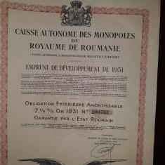 Obligatiune Casa Monopolurilor Romania 1931 ,1000 franci , 17 cupoane