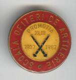 Scoala Ofiteri de ARTILERIE 1937-1987 - Insigna MILITARA -  Rara