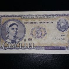 Bancnote romanesti 5lei 1952 unc - Bancnota romaneasca