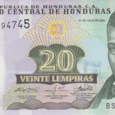 Bancnota Honduras 20 Lempiras 2008 - P95 UNC ( polimer ) - bancnota america