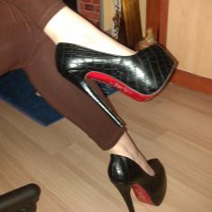 Pantofi CHRISTIAN LOUBOUTIN Daffodile Croco - Piele naturala - Super Promotie! - Pantof dama Gianmarco Lorenzi, Culoare: Negru, Marime: 38, 39, Cu platforma