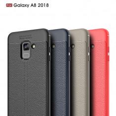 Husa / Bumper Antisoc model PIELE pentru Samsung Galaxy A8 2018 / A530F - Husa Telefon, Negru