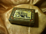 Relicvariu cutie caseta bijuterii mahon os sidef intarsie persana