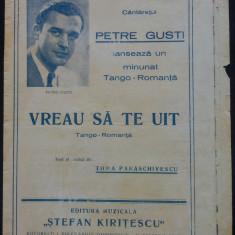 Vreau sa te uit/ tango-romanta de Toma Paraschivescu// partitura