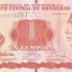 Bancnota Honduras 1 Lempira 2012 - P96 UNC - bancnota america