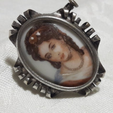 BROSA argint CONTESA pe Portelan LIMOGES pictata manual FRANTA 1900 SPLENDIDA